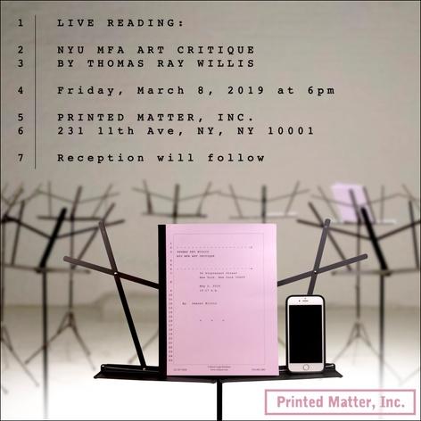 Live Reading: NYU MFA Art Critique