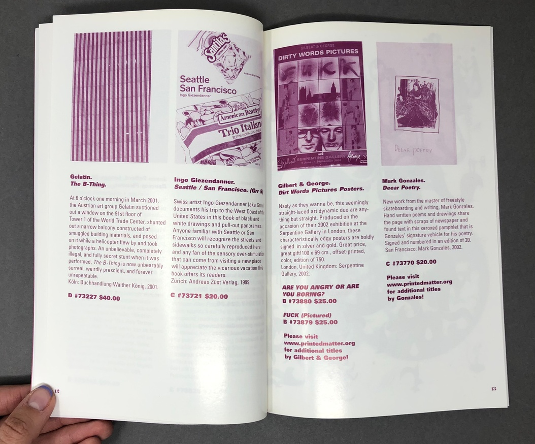 Printed Matter, Inc. Winter 2003 Catalog thumbnail 5