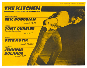 The Kitchen March Schedule, March 1-31, 1982  [The Kitchen Posters]
