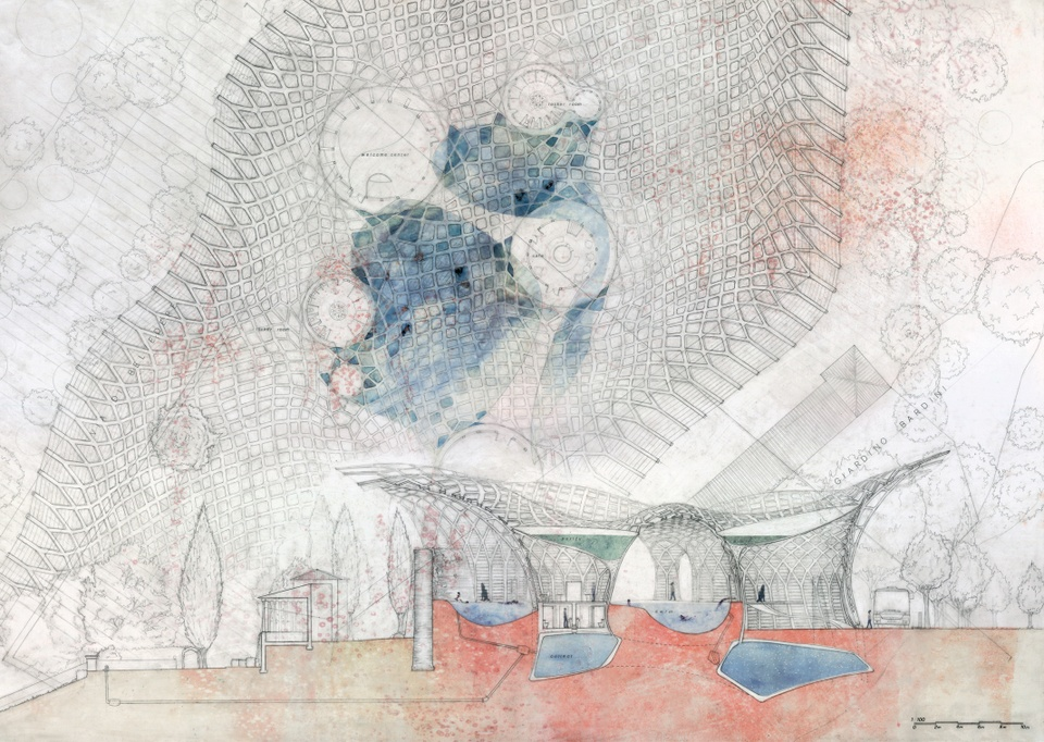 Delicate watercolor section drawing and site plan rendered in pale blues, pinks, and beige that depicts a graceful pavilion and water features.