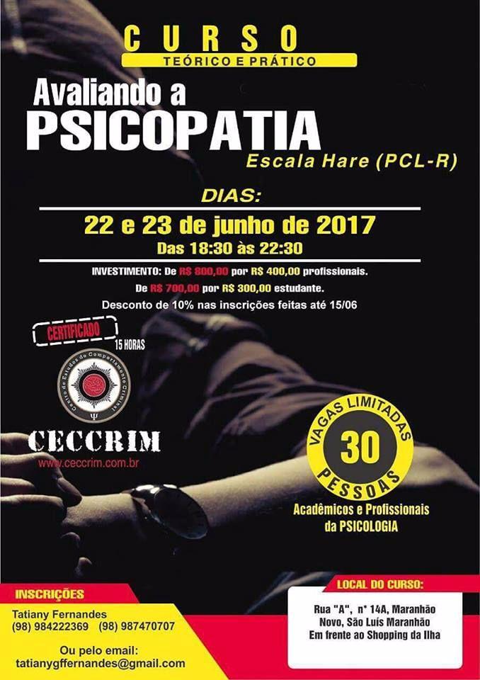 Curso teórico e pratico Avaliando a Psicopatia - Escala Hare ( PCL-R)