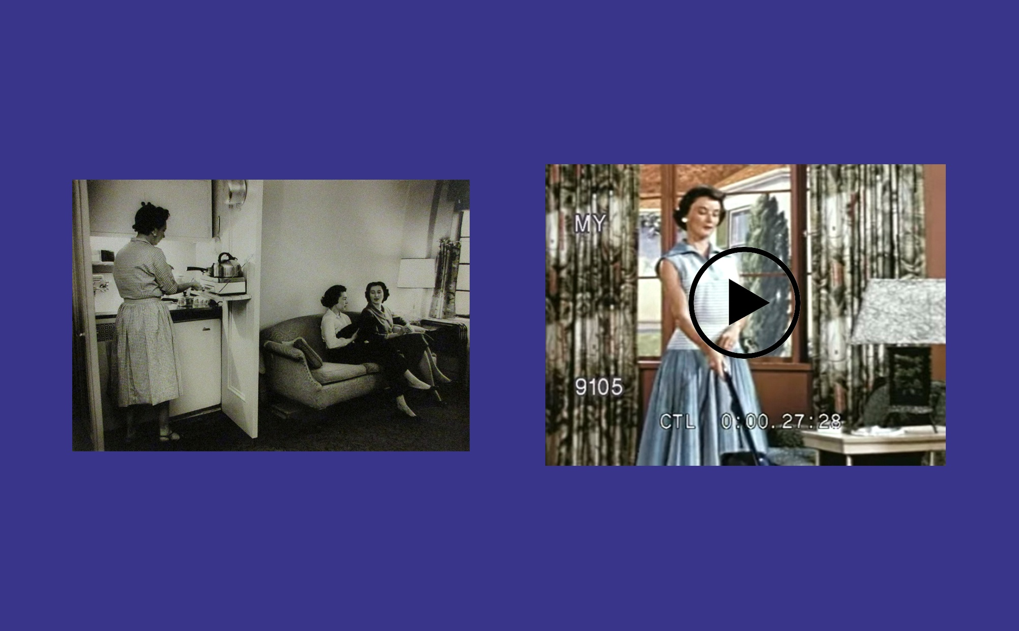 Two images side by side, one image is a black and white photograph of two light-skinned women on a couch with another woman working in the kitchen and the other image is a film still of light-skinned woman vacuuming.
