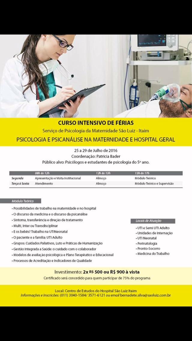 Curso de Férias Psicologia Hospital e Maternidade