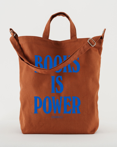BOOKS IS POWER Tote (Blue on Umber)
