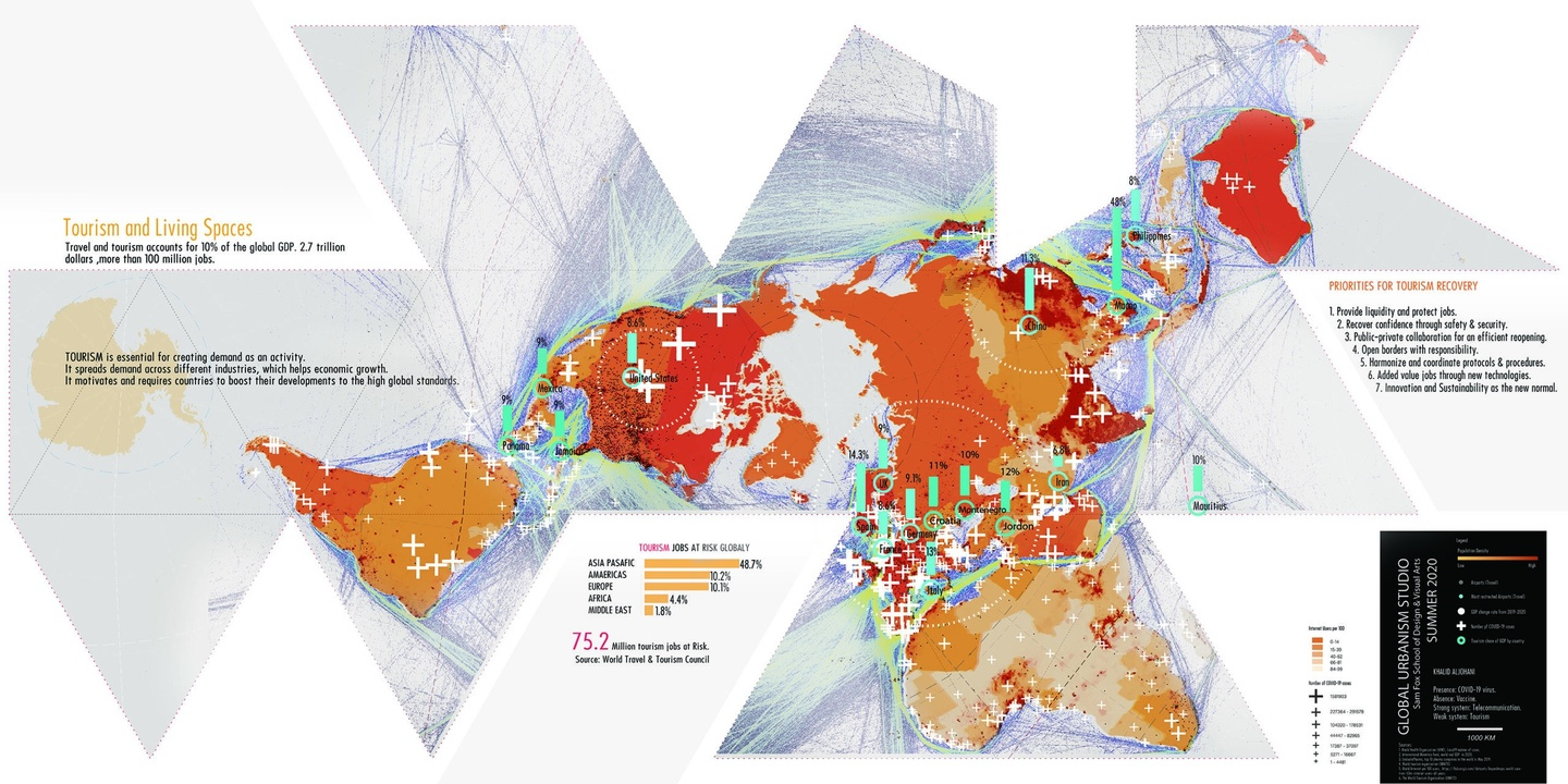 Playing off of Buckminster Fuller's famed Dymaxion World Map, a heat map indiciating COVID-19's effect on global tourism, in shades of red and orange with teal green bars for key stats.