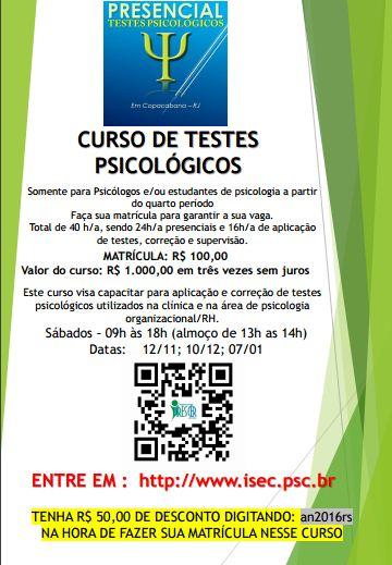 CURSO DE TESTES PSICOLÓGICOS- Para Psicólogos e/ou Estudante de Psicologia a partir do 4° Período