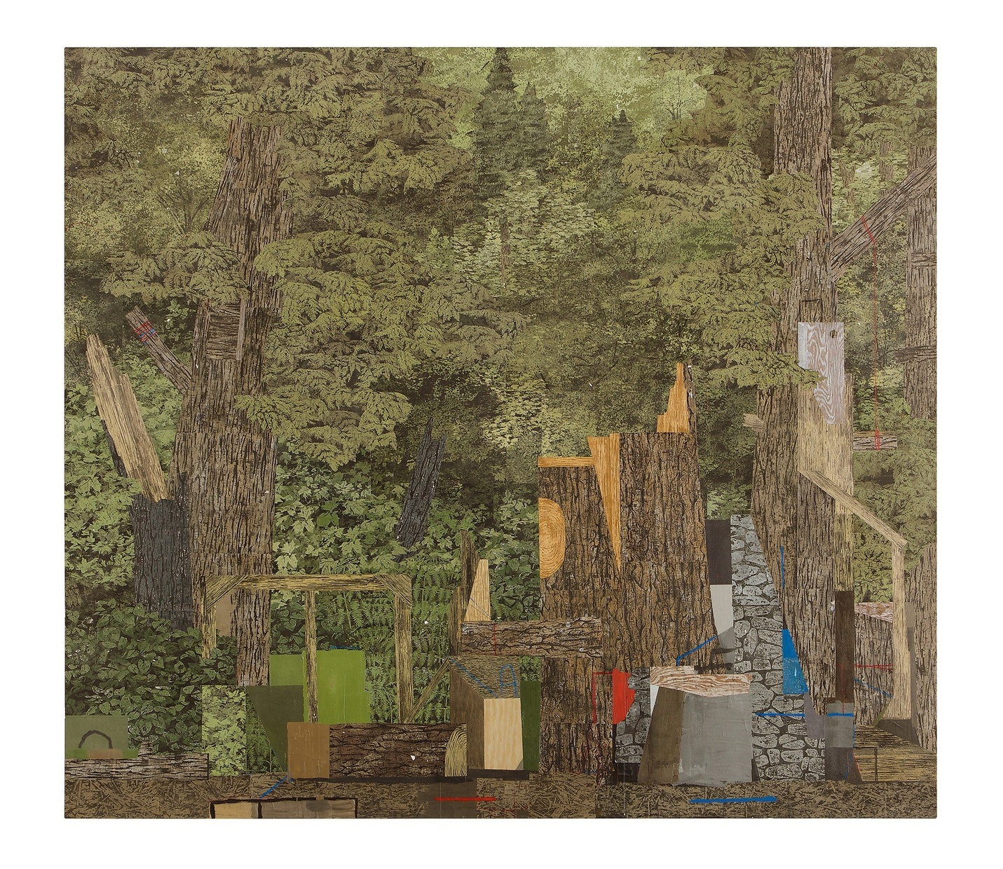 An abstract painting of a forest with chopped tree trunks near the front and stone-like and metal-like materials scattered around the damaged trees.