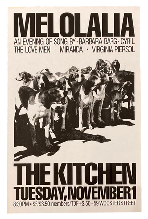 Melolalia, An Evening of Song, November 1-30, 1983 [The Kitchen Posters]