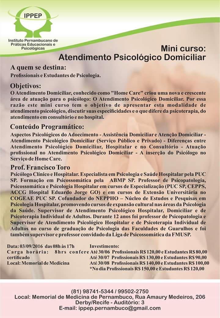 MINI CURSO ATENDIMENTO PSICOLÓGICO DOMICILIAR