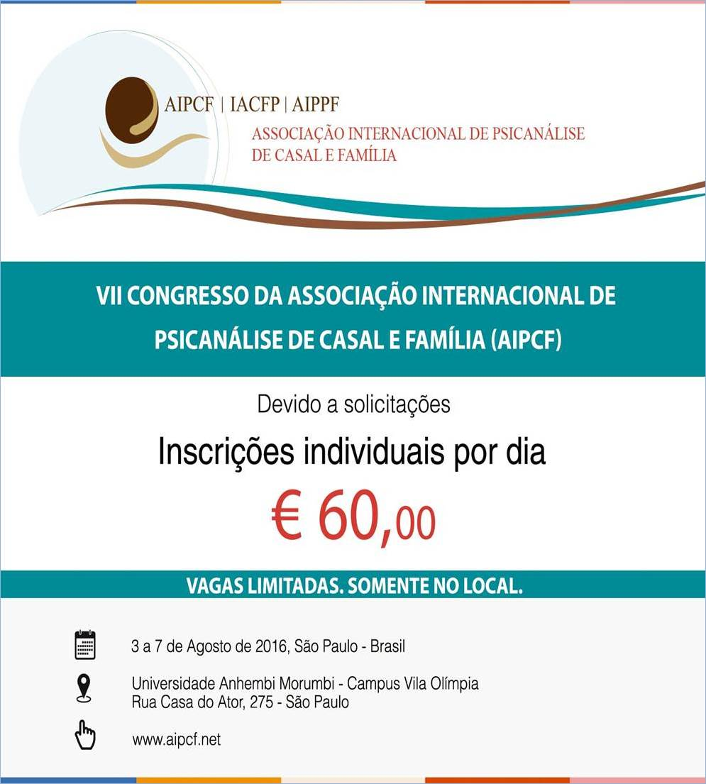 VII Congresso Internacional da Associação Internacional de Psicanálise de Casal e Família (AIPCF)
