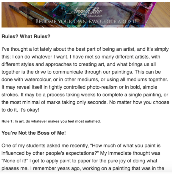 screenshot from Angela Fehr's email series on breaking the rules as an artist