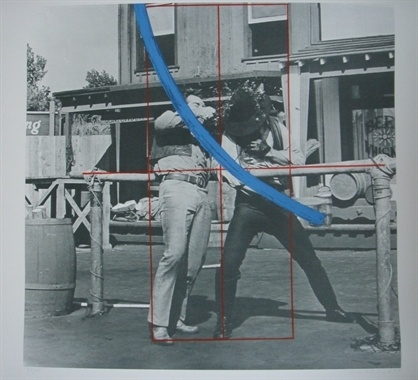 Blue Masterstroke Over Red Diagram and Two Cowboys,1989