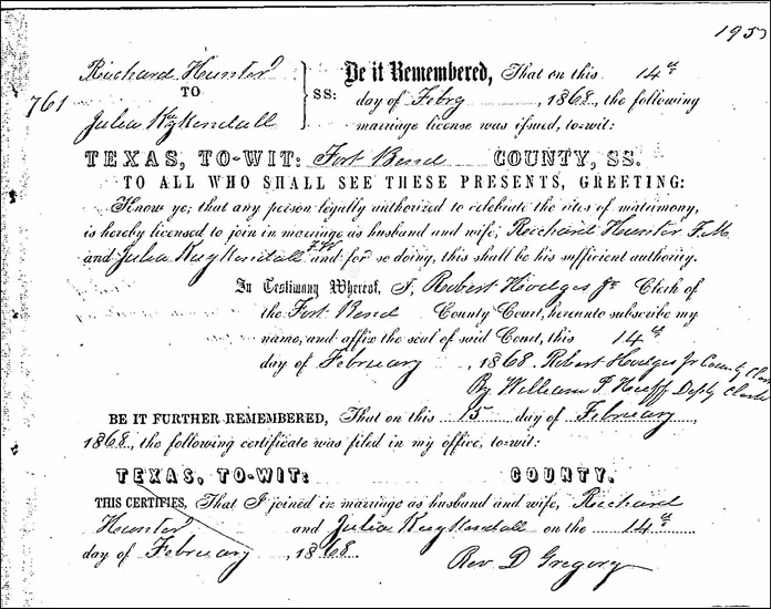 FIG. 6: Julia Kuykendall and Richard Hunter's marriage certificate in Fort Bend County, Texas, February 14, 1868. My ancestor Julia was born in Sumter, Tennessee, in 1821. She was eventually sold to Joseph Kuykendall (one of the Old Three Hundred) in Fort Bend County. I referenced Julia's story when I asked workshop participants to make a connection between individual stories and popular public narratives. The exercise revealed the dominance of Anglo settler narratives in Texas public history and showed how collaborative counternarrative work is essential to diversifying both public history and local preservation leadership