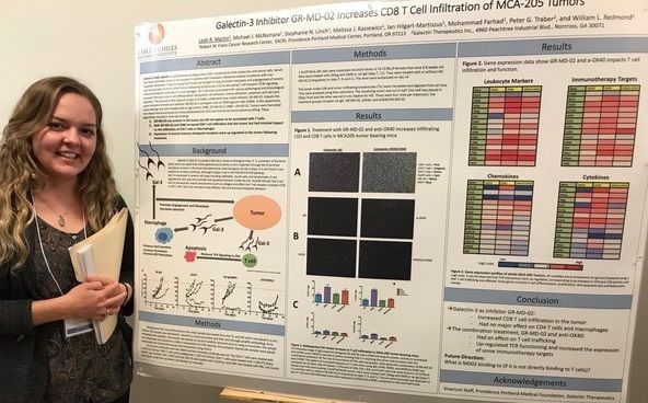 Molecular Bio Student Leah Martin Receives Award for Her Research in Immunother