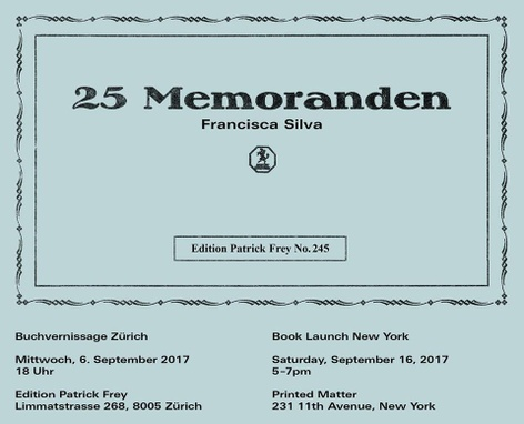 Francisca Silva: 25 Memoranden - Book Launch
