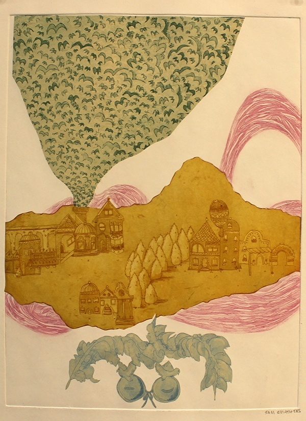 Relief print of a village scene of buildings and trees overlaid by an irregular mustard-colored shape. Pink linework curves behind the shape, and a green cloud of birds bursts overhead. A green laurel emblem appears below.
