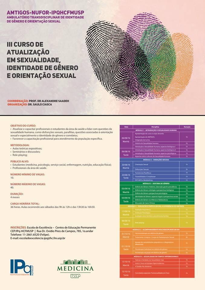 III CURSO DE ATUALIZAÇÃO EM SEXUALIDADE, IDENTIDADE DE GÊNERO (TIG) E ORIENTAÇÃO SEXUAL