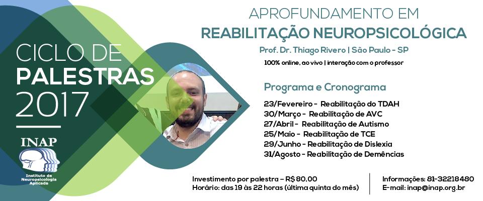 Ciclo de Palestras de Aprofundamento em Reabilitação Neuropsicológica com o Prof. Dr. Thiago Rivero - SP 100% online