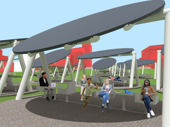 Rendering of people outside underneath a series of ovular gray canopies, many sitting on gray furniture underneath.