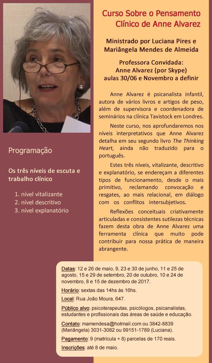Curso Sobre o Pensamento Clínico de Anne Alvarez