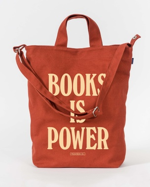 BOOKS IS POWER Tote (Cream on Rust)