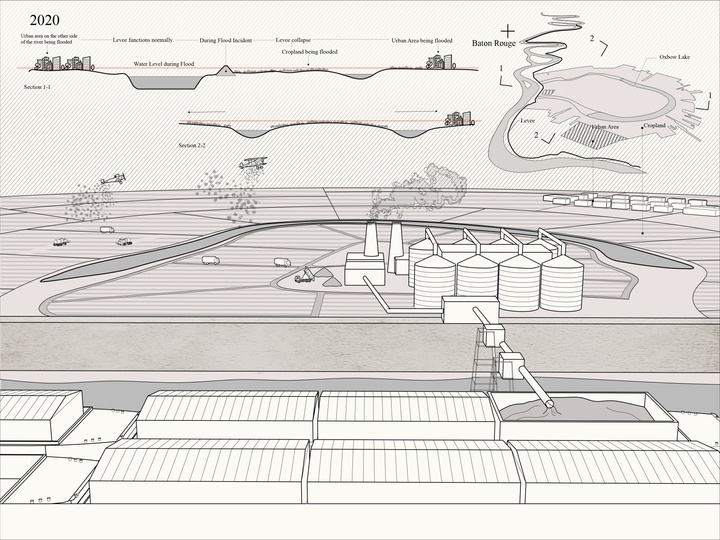 Rendering illustrating the relationship between agricultural land, petrochemical products, and barges.