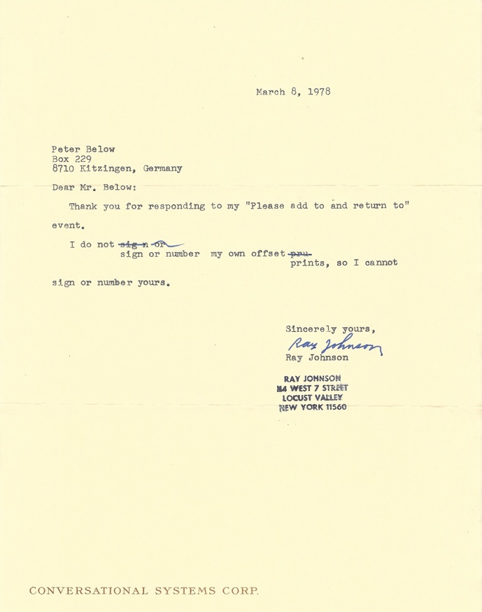 Untitled [Letter by Ray Johnson to Peter Below] thumbnail 2