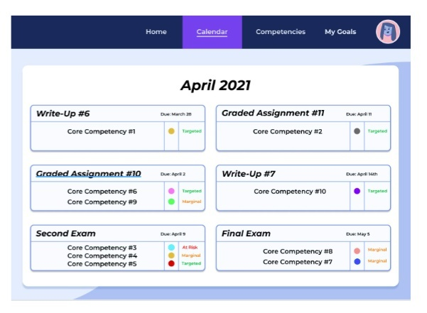 """Image shows a screenshot reading """"April 2021"""" with lists of assignments."""