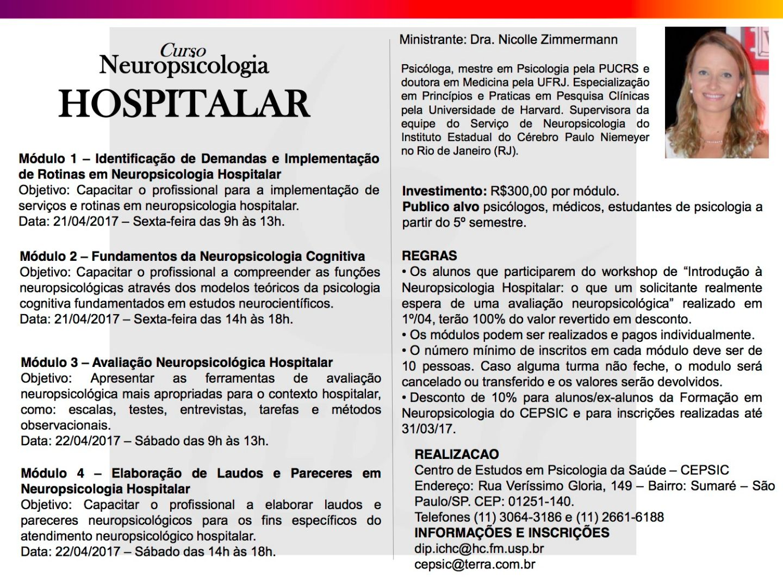 Curso - Neuropsicologia Hospitalar