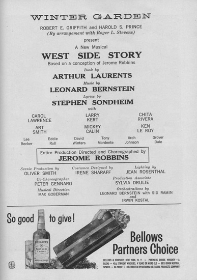 FIG. 7: West Side Story, Playbill title page, 1957.