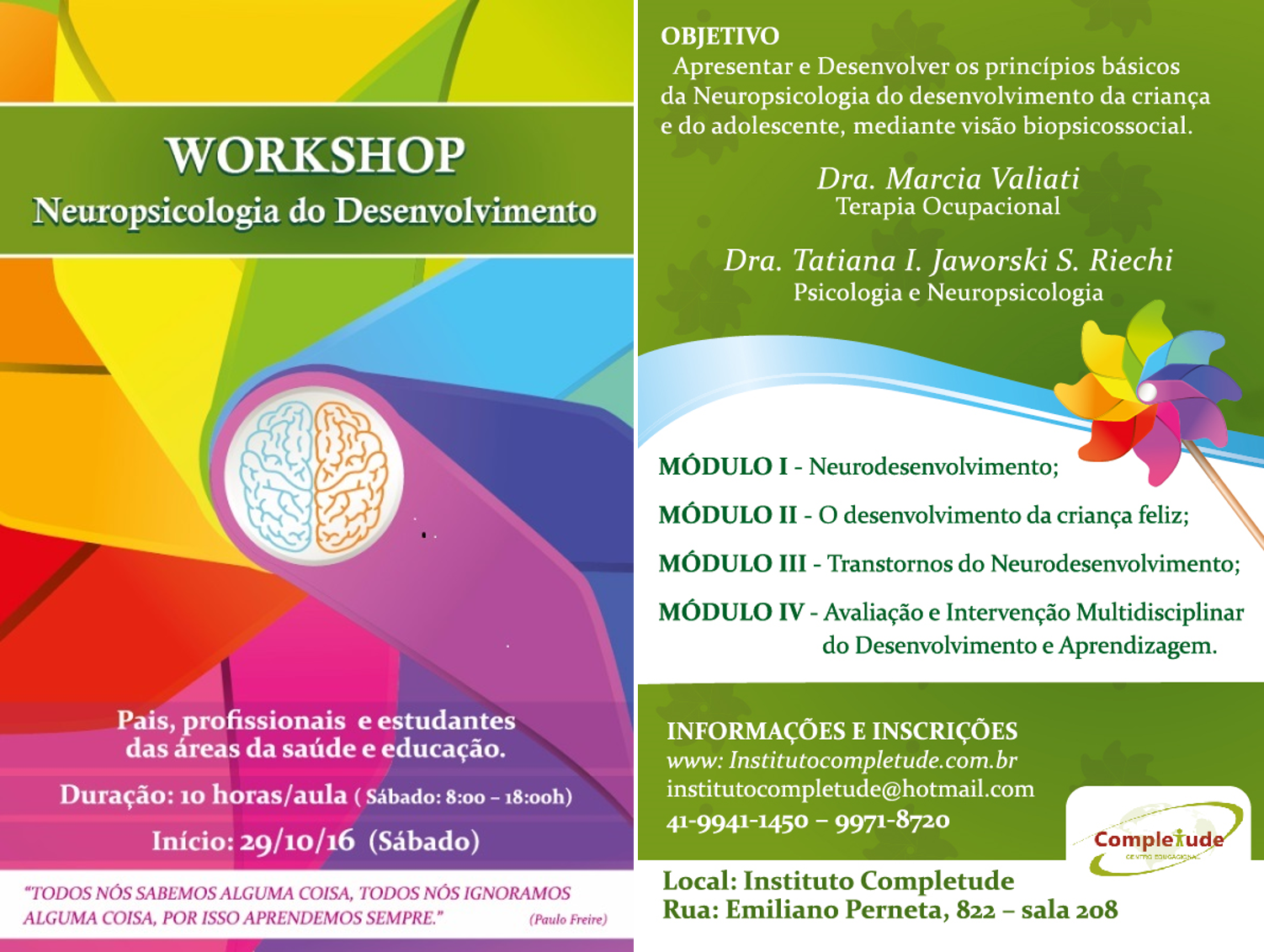 Workshop: neuropsicologia do desenvolvimento