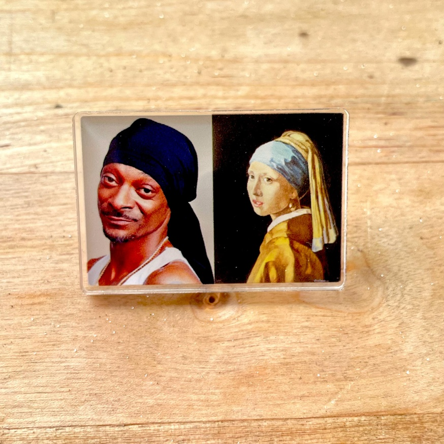 Snoop and the Pearl Earring Acrylic Pin