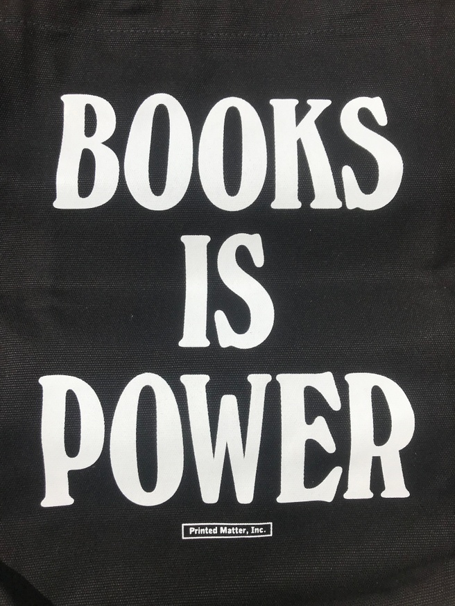 BOOKS IS POWER Tote (White and Black) thumbnail 2