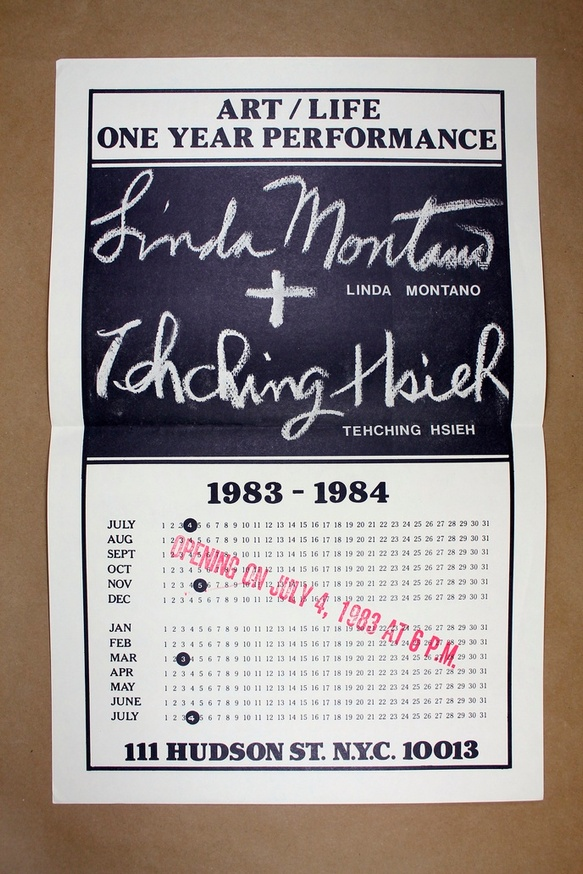 Art/Life One Year Performance Poster [Linda Montano + Tehching Hsieh]