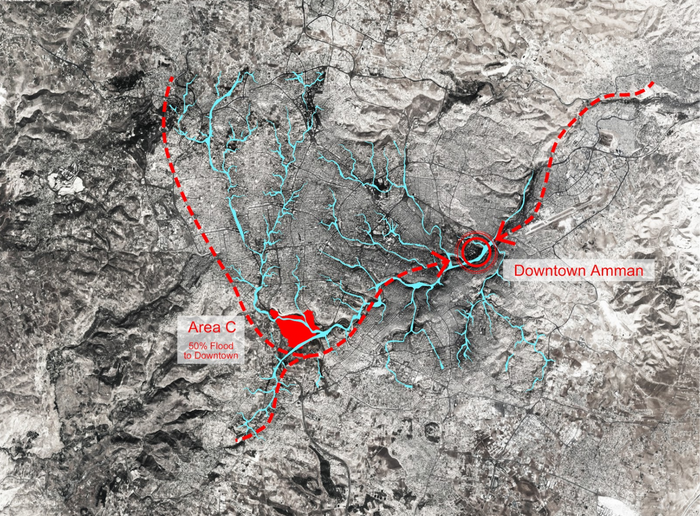 02a_over 50% flood would pass through Area C to Downtown Amman.PNG