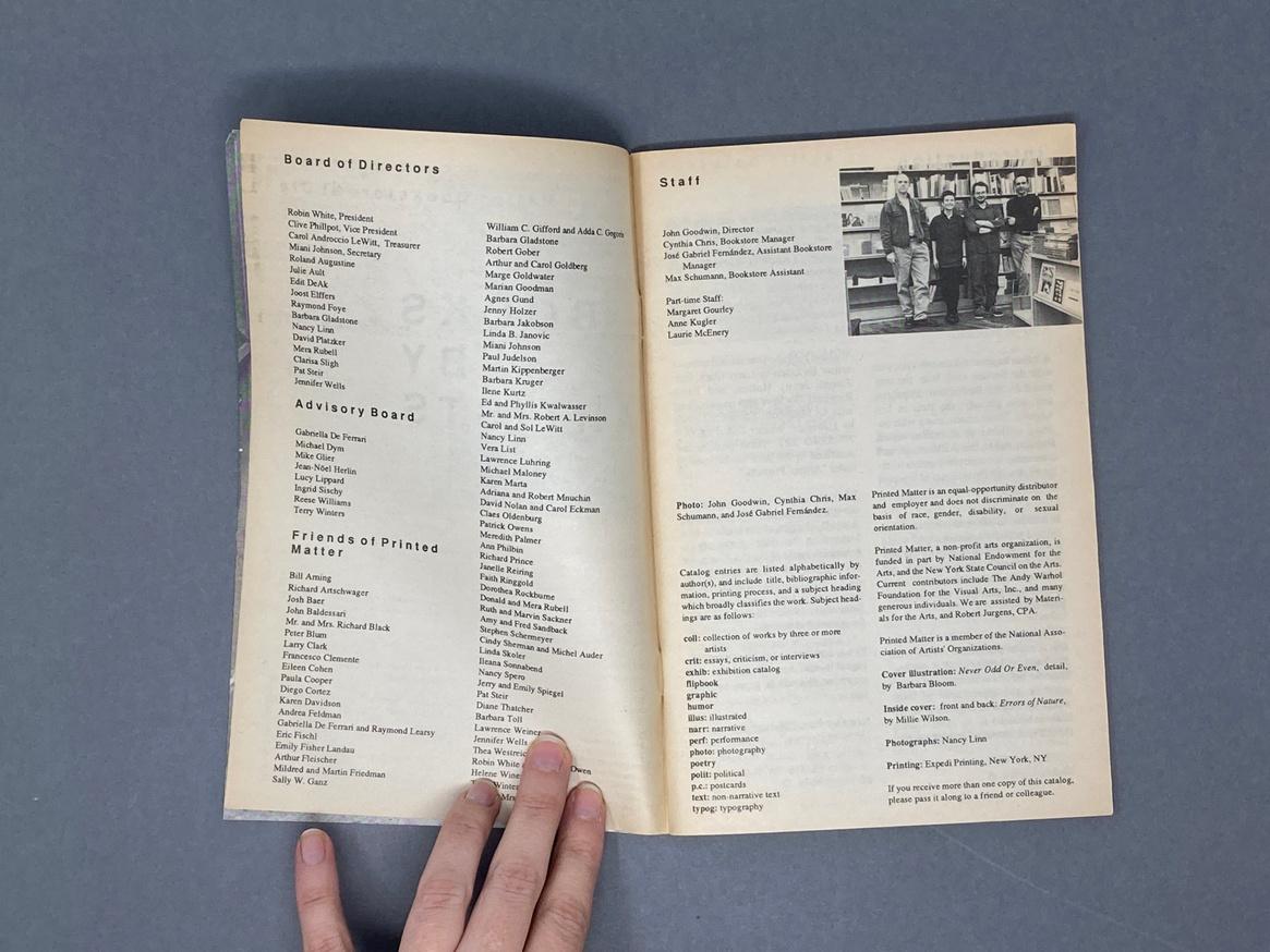 Printed Matter 1992 Summer Catalog thumbnail 3