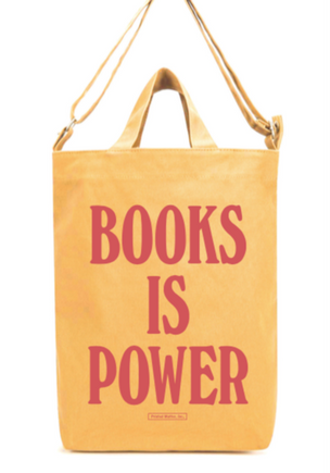 BOOKS IS POWER Tote (Rose on Apricot)