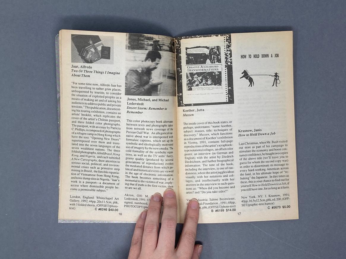 Printed Matter 1992 Summer Catalog thumbnail 4