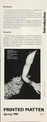 Printed Matter 1988 Spring Flyer