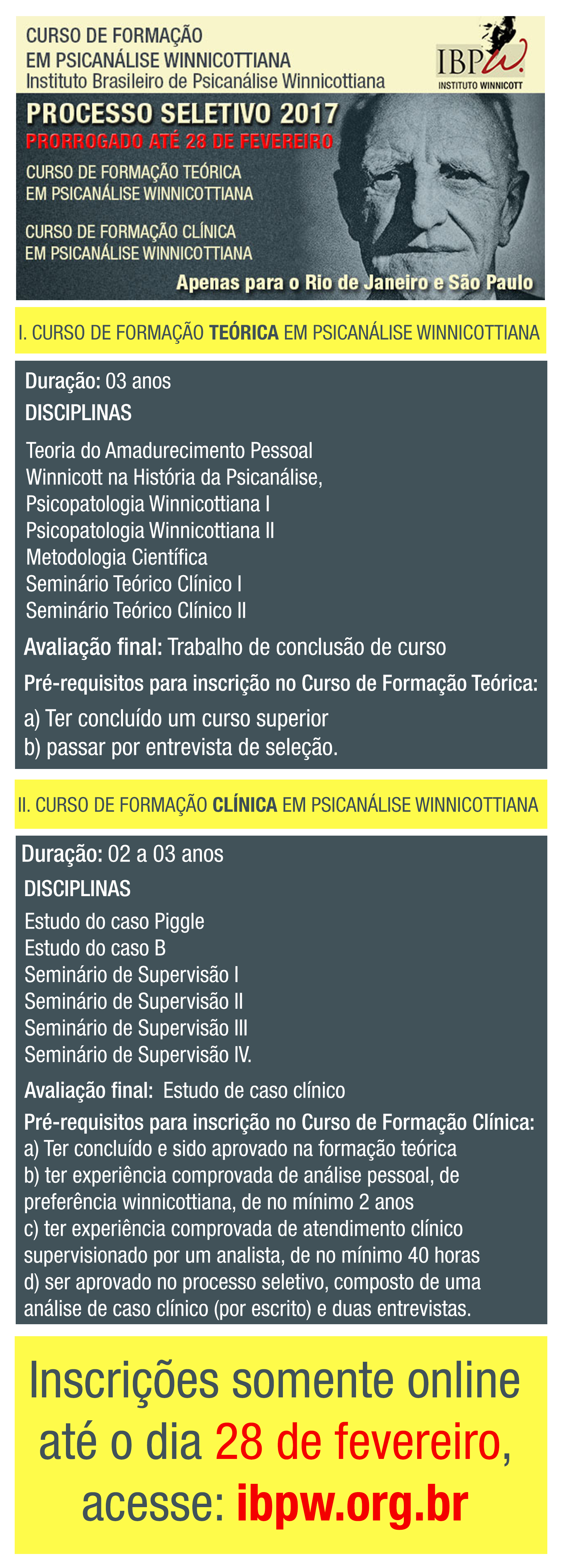 CURSO DE FORMAÇÃO TEÓRICA EM PSICANÁLISE WINNICOTTIANA