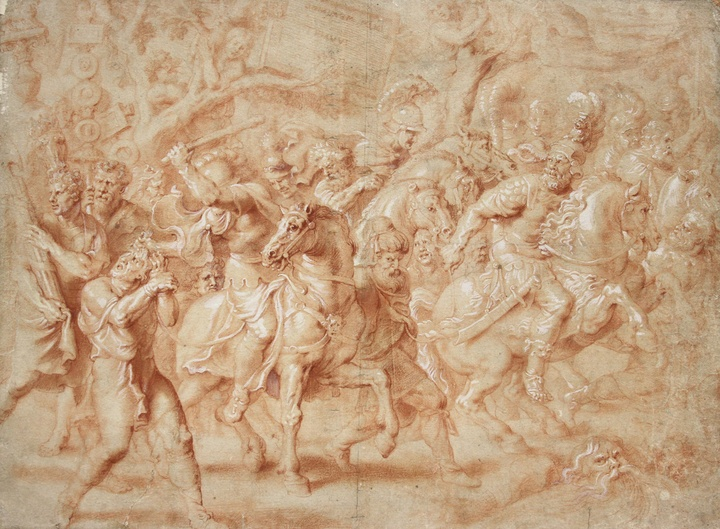 Artwork made of red chalk and wash on tinted paper, depicting riders on horses charging through a crowd of figures from Greco-Roman antiquity arrayed for battle; additional images are faint in the background.
