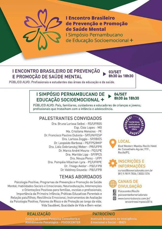 I Encontro Brasileiro de Prevenção e Promoção de Saúde Mental