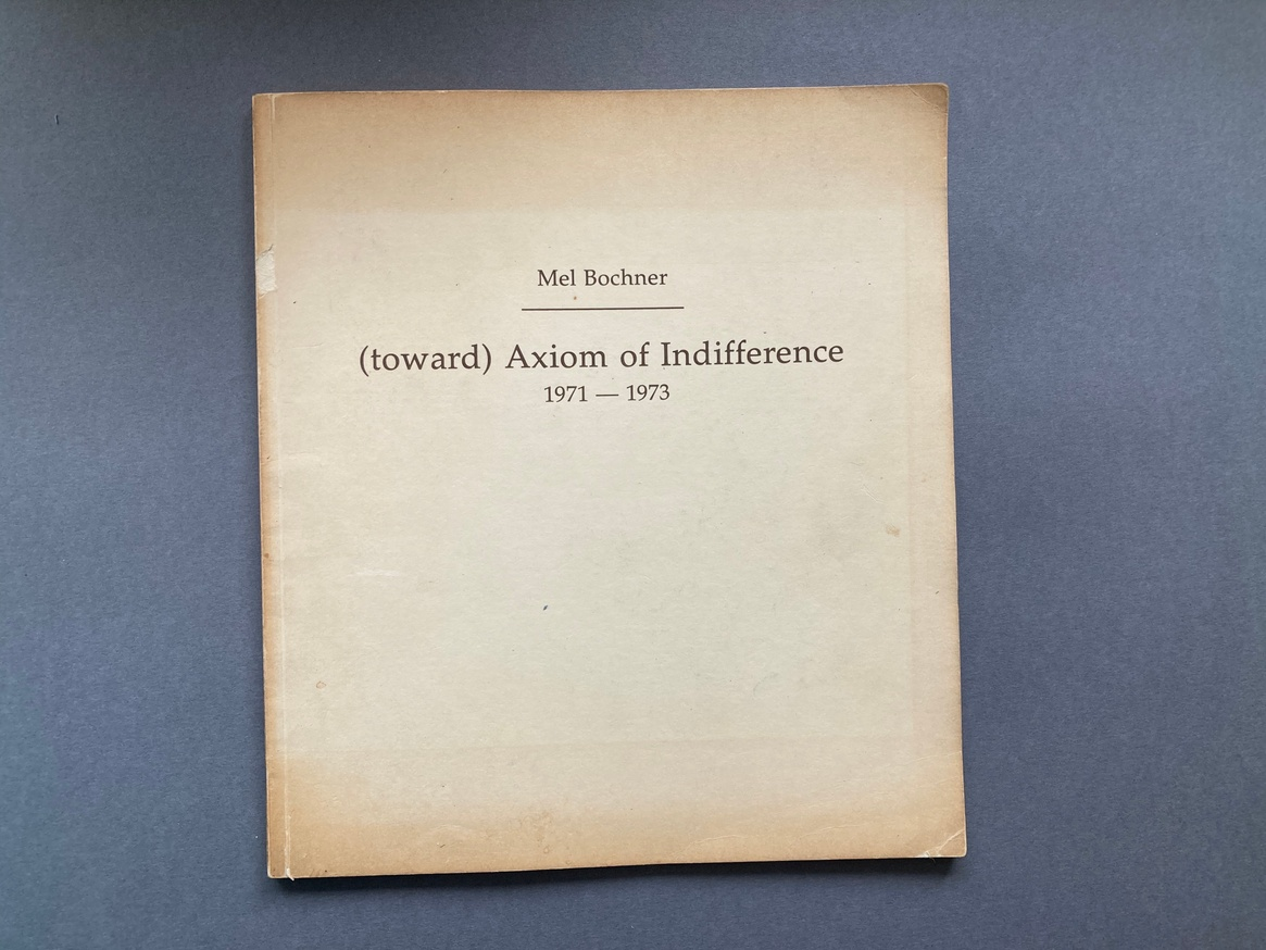(toward) Axiom of Indifference 1971-73