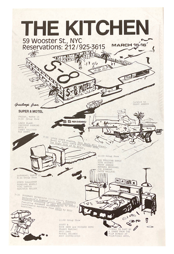 Super 8 Motel, March 15-16, 1985 Film Series Curated by Peggy Ahwesh [The Kitchen Posters]