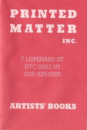 Printed Matter Inc. Mail Order Broadsheet