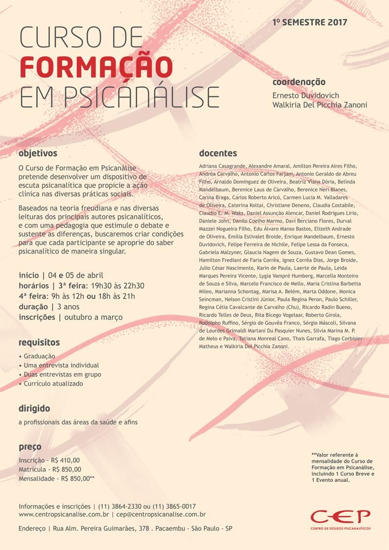 Curso de Formação em Psicanálise - 1º semestre de 2017