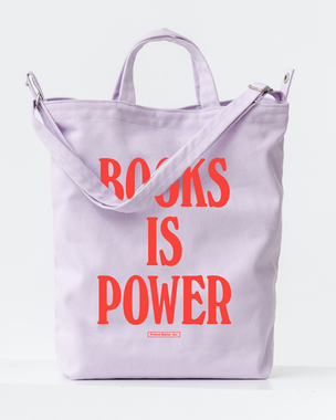 BOOKS IS POWER Tote (Warm Red on Lilac)