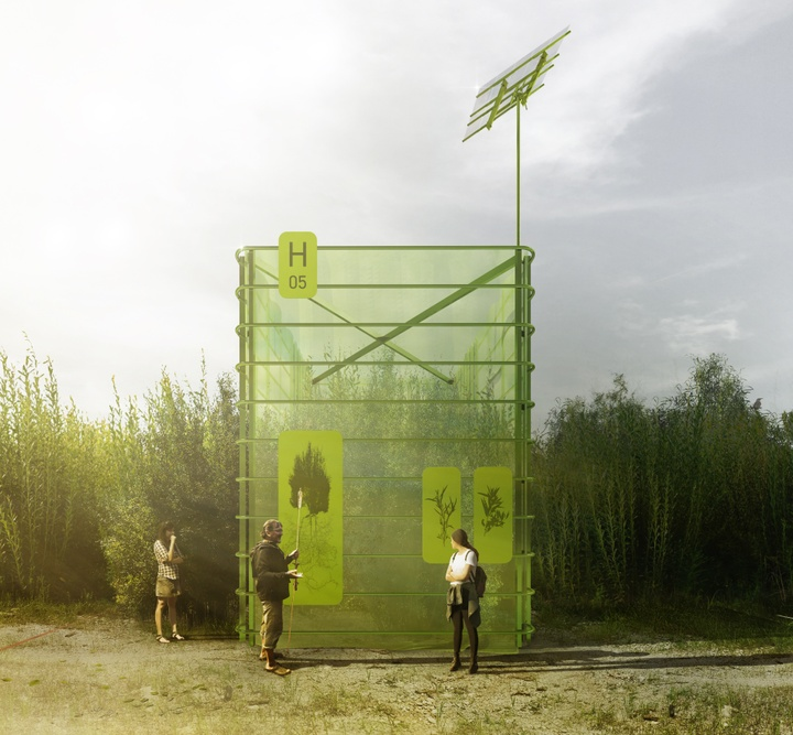 Drawing showing three people in front of a large green building with signs on it in an outdoor space.