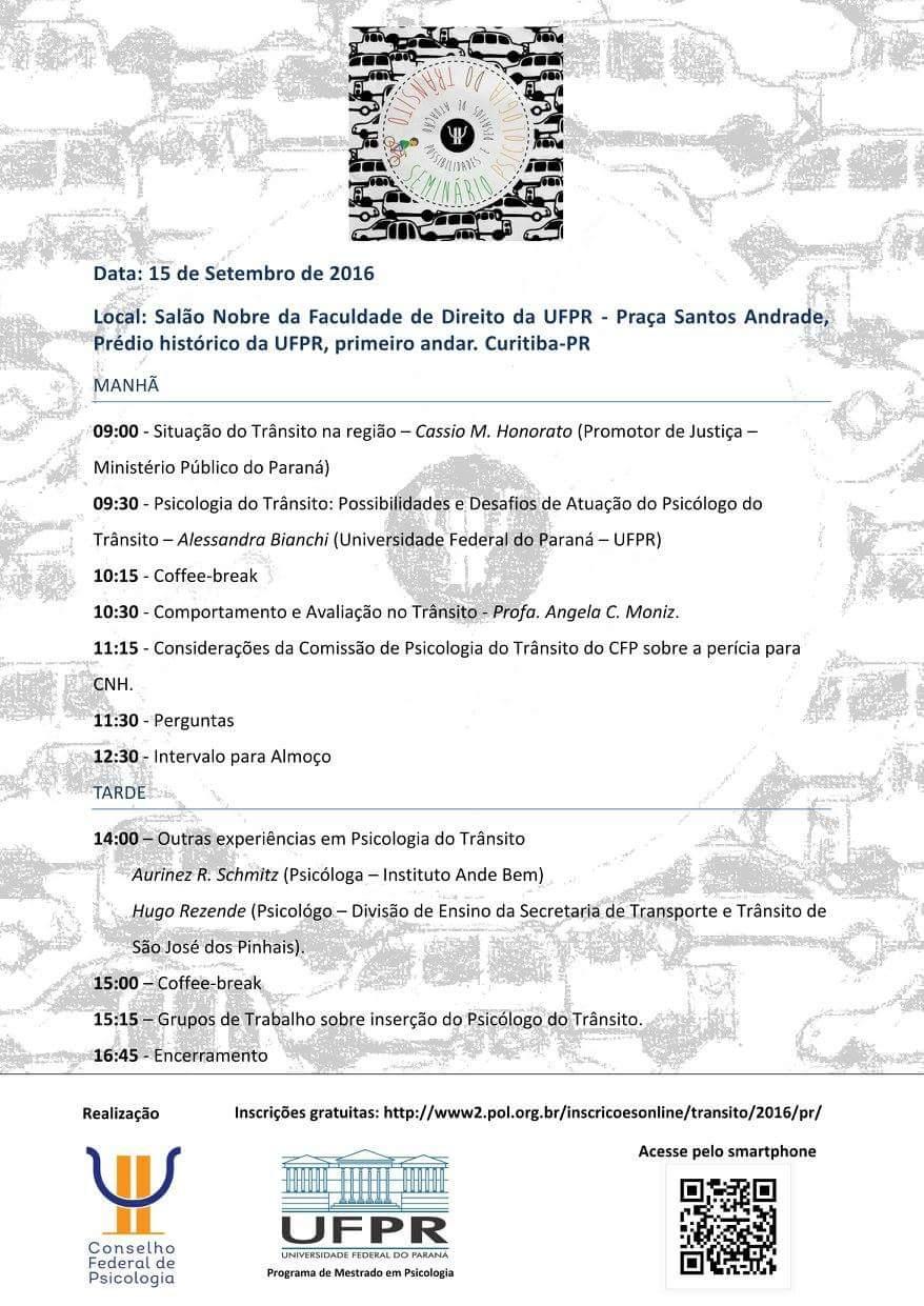 Seminário Psicologia do trânsito Possibilidades e desafios da atuação