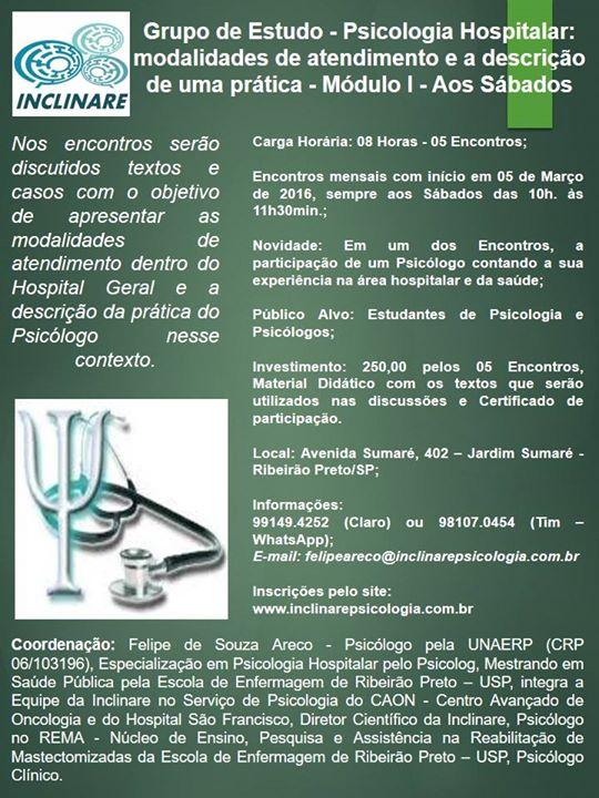 Grupo de Estudo de Psicologia Hospitalar: modalidades de atendimento e a descrição de uma prática – Módulo I